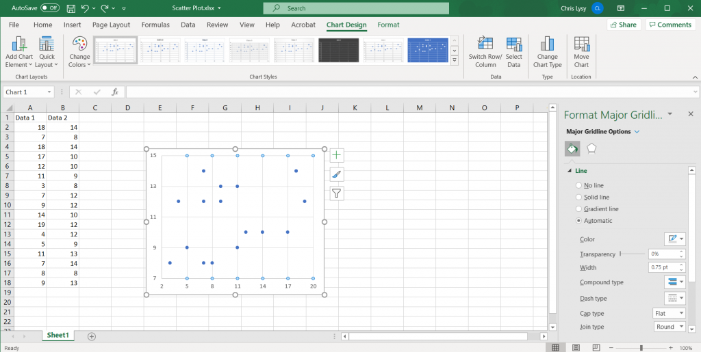 How to Create Scatter Plots in Excel - Setting Gridlines Illustration