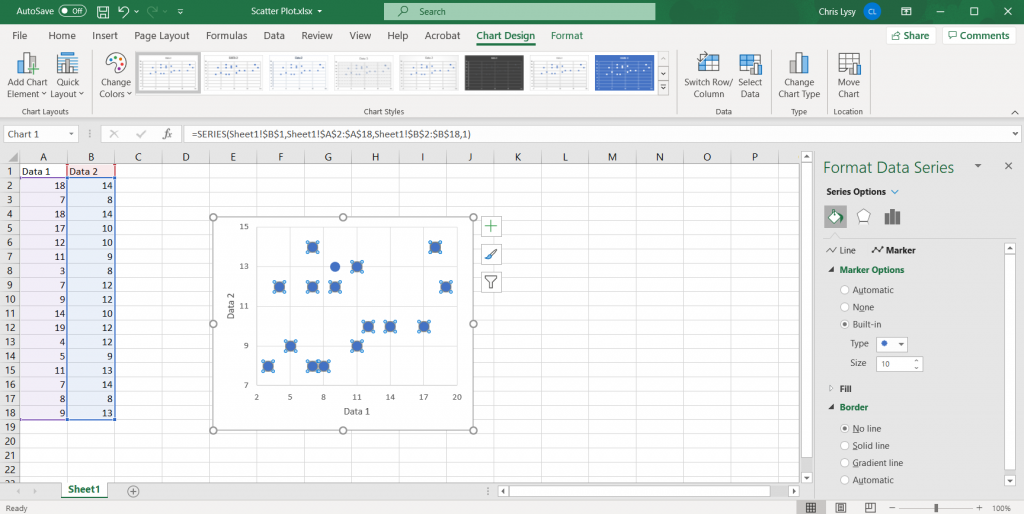 How to Create Scatter Plots in Excel - Tweaking the Marker Size Illustration