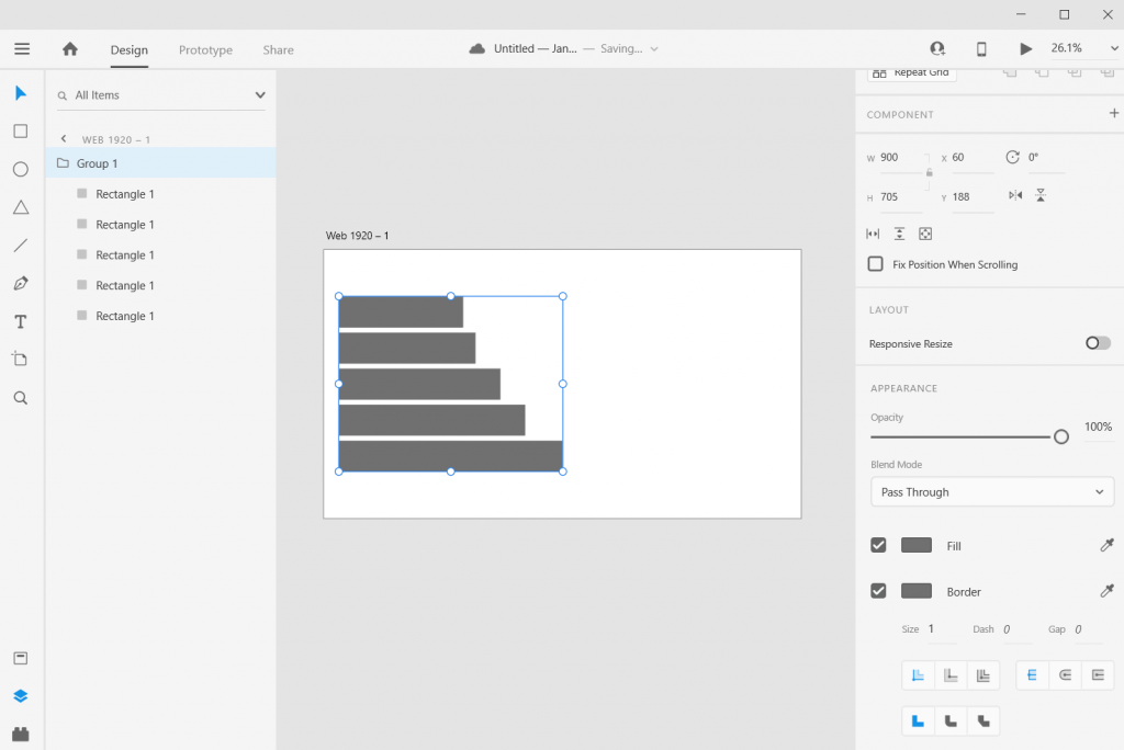 Adobe XD Bar Chart Illustration Stretch and Skew
