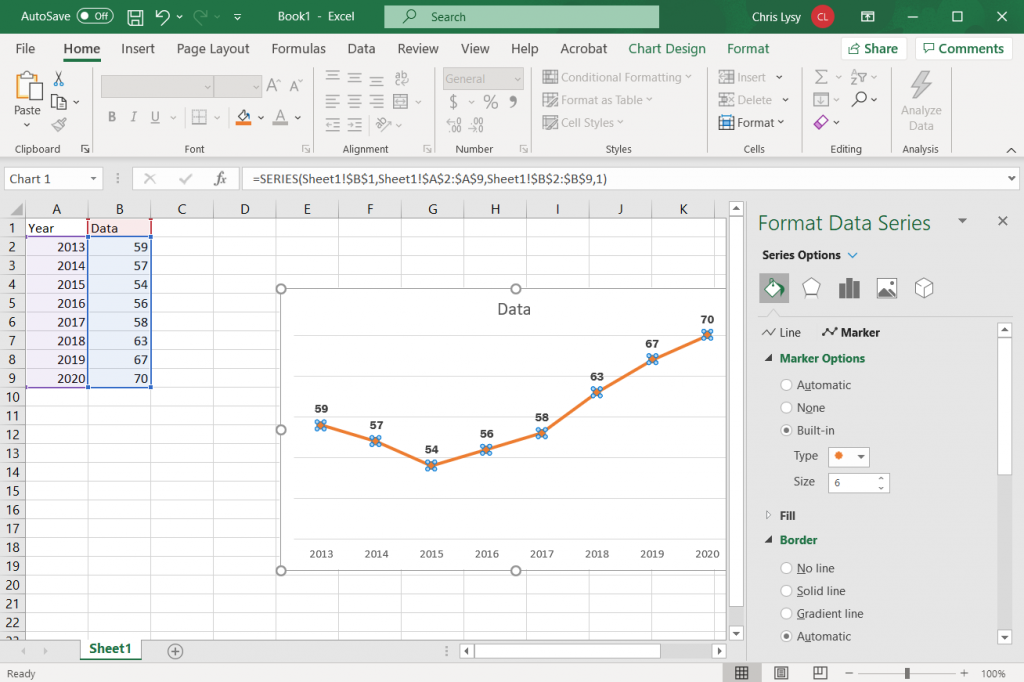 How to create a line graph in Excel - Add Line Markers