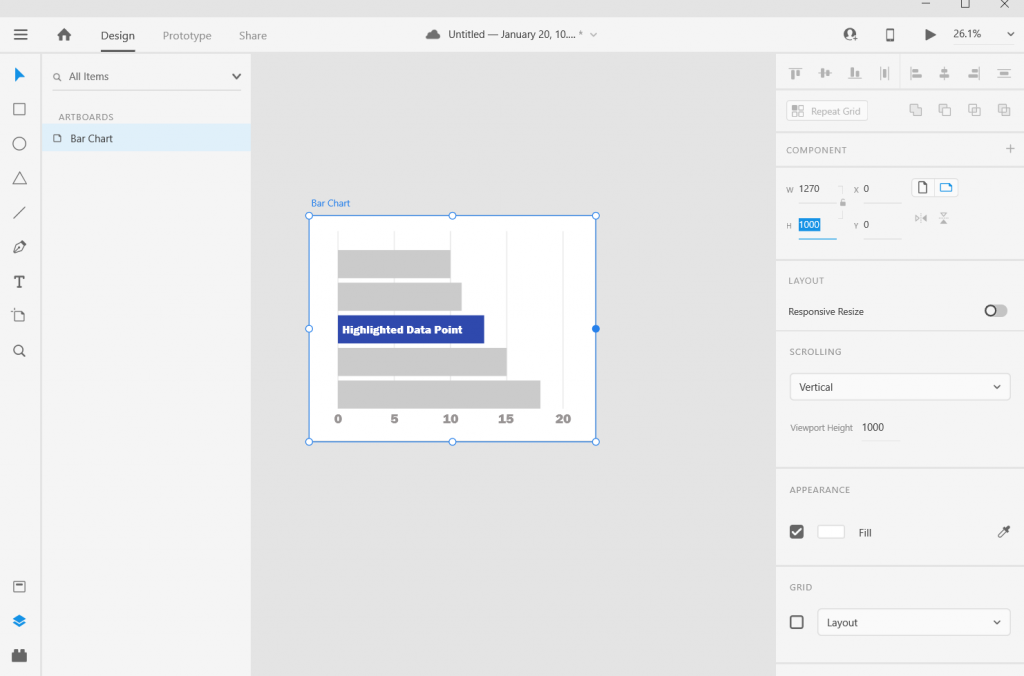 Adobe XD Bar Chart Illustration Adjusting the Art Board