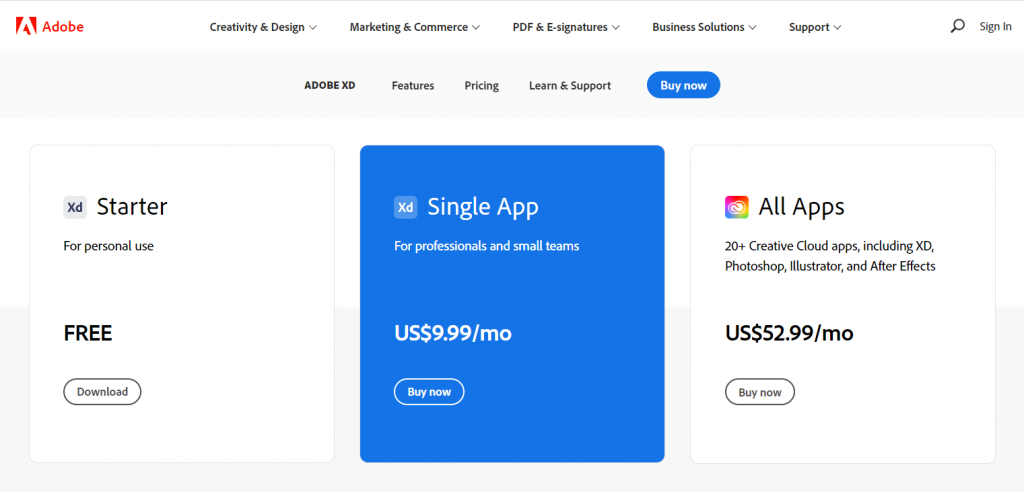 Adobe XD Pricing Plans