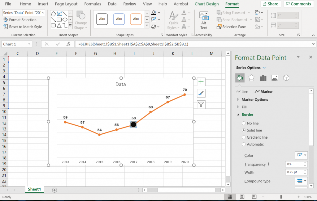 How to create a line graph in Excel - Highlighting an Individual Marker