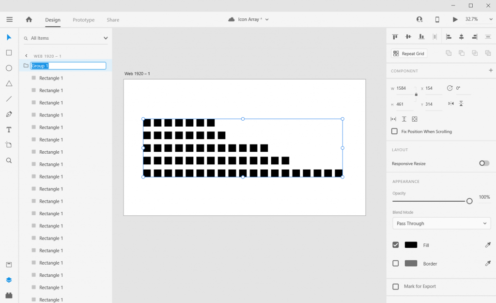 Adobe XD Icon Array Illustration Sketch and Skew