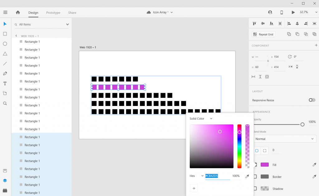 Adobe XD Icon Array Illustration adding Color
