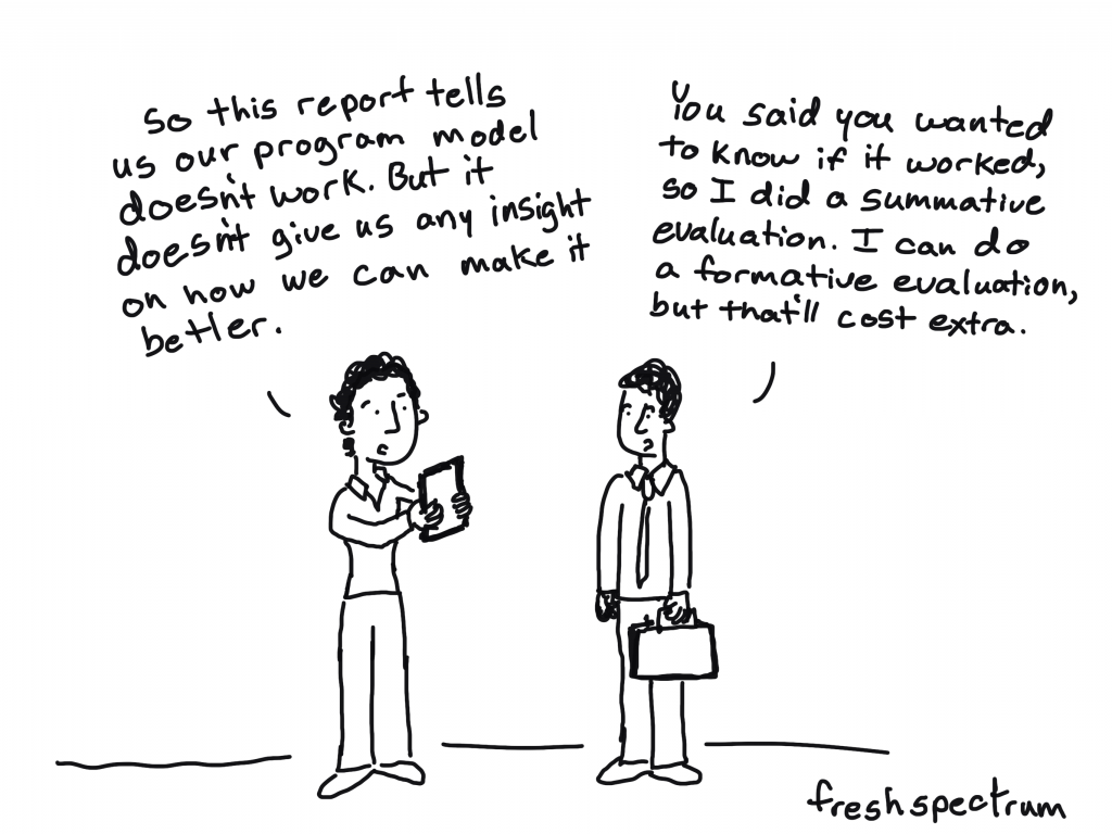 """Formative Evaluation Cartoon by Chris Lysy of freshspectrum.  """"So this report tells us our program model doesn't work. But it doesn't give us any insight on how we can make it better."""" """"You said you wanted to know if it worked, so I did a summative evaluation.  I can do a formative evaluation, but that'll cost extra."""""""