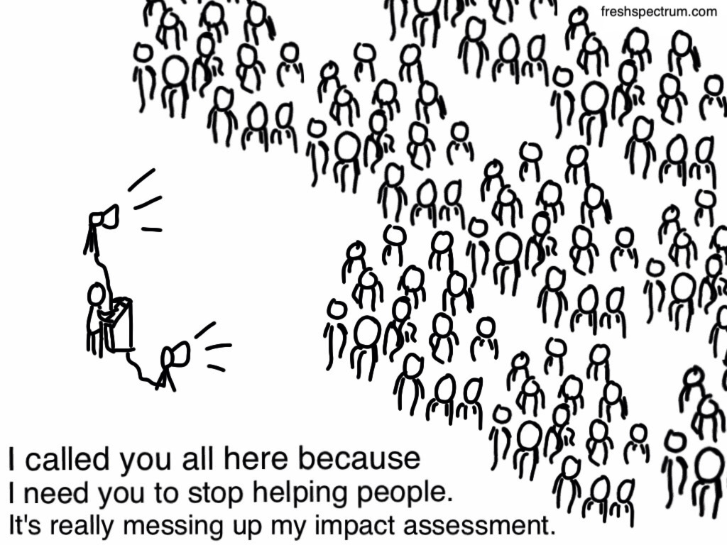 "Freshspectrum Cartoon by Chris Lysy.  ""I called you all here because I need you to stop helping people. It's really messing up my impact assessment."""