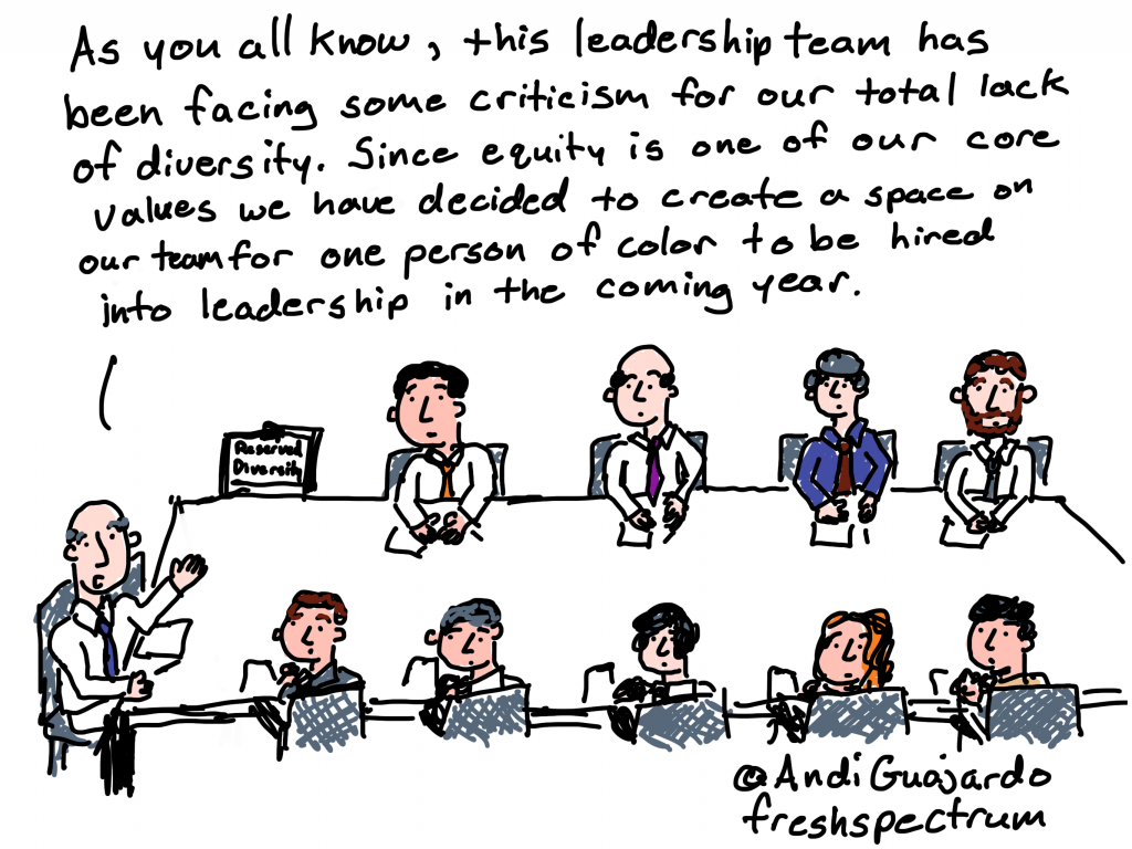 Cartoon by Chris Lysy of freshspectrum As you all know, this leadership team has been facing some criticism for our total lack of diversity. Since equity is one of our core values we have decided to create a space on our team for one person of color to be hired into leadership in the coming year.
