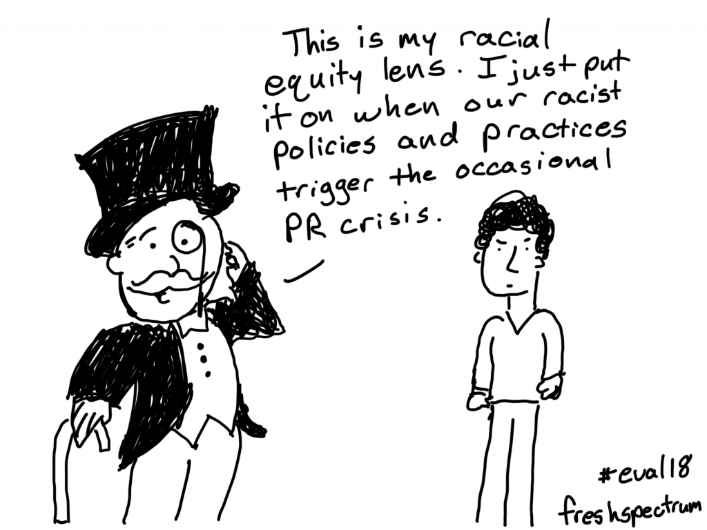"Cartoon by Chris Lysy of freshspectrum ""This is my racial equity lens. I just put it on when our racist policies and practices trigger the occasional PR crisis."""