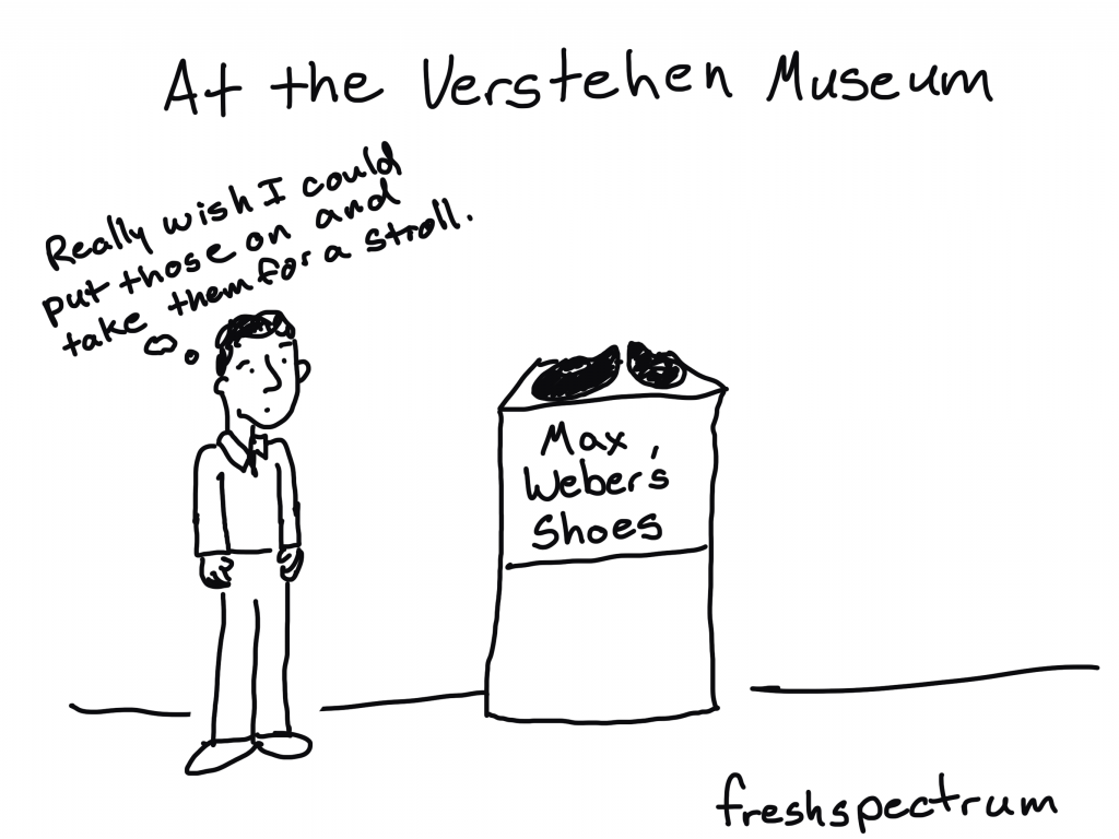 """Freshspectrum cartoon by Chris Lysy - At the Verstehen Museum, """"Really wish I could put those on and take them for a stroll."""" Looking at Max Weber's Shoes"""