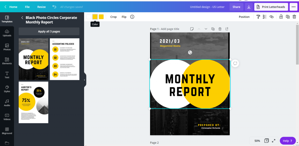 How to Create Power Point Report Templates in Canva - Changing Fonts and Colors