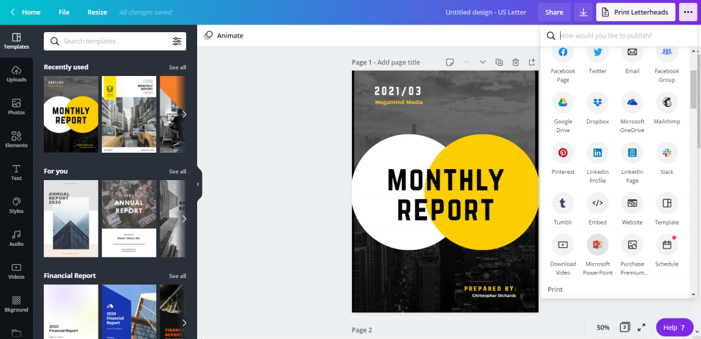 How to Create Power Point Report Templates in Canva Illustration - Saving as PowerPoint