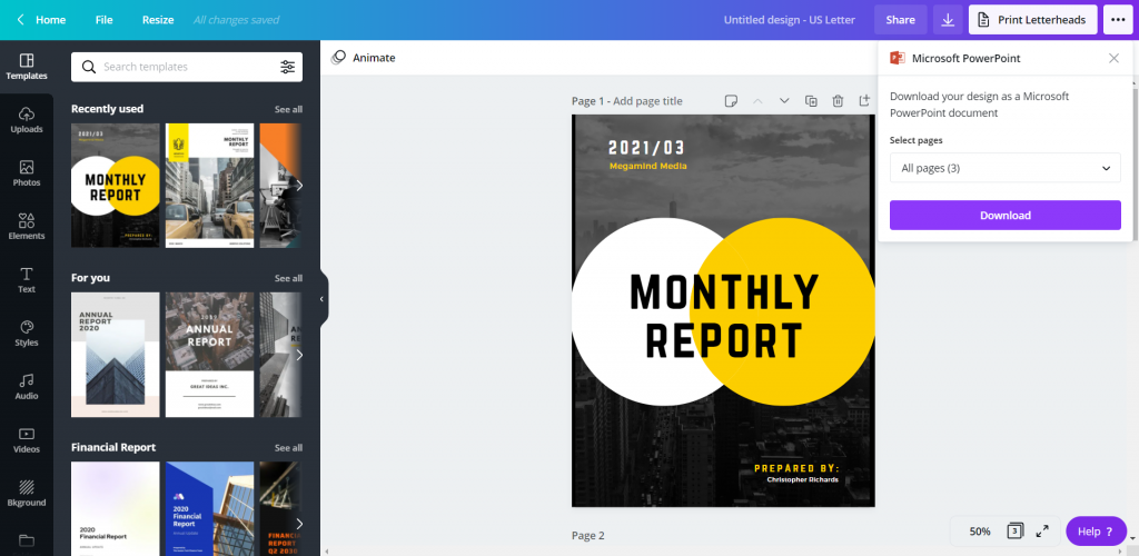 How to Create Power Point Report Templates in Canva Illustration - Downloading PowerPoint