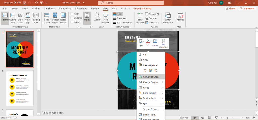 How to Create Power Point Report Templates in Canva Illustration - Converting to Shape in PowerPoint