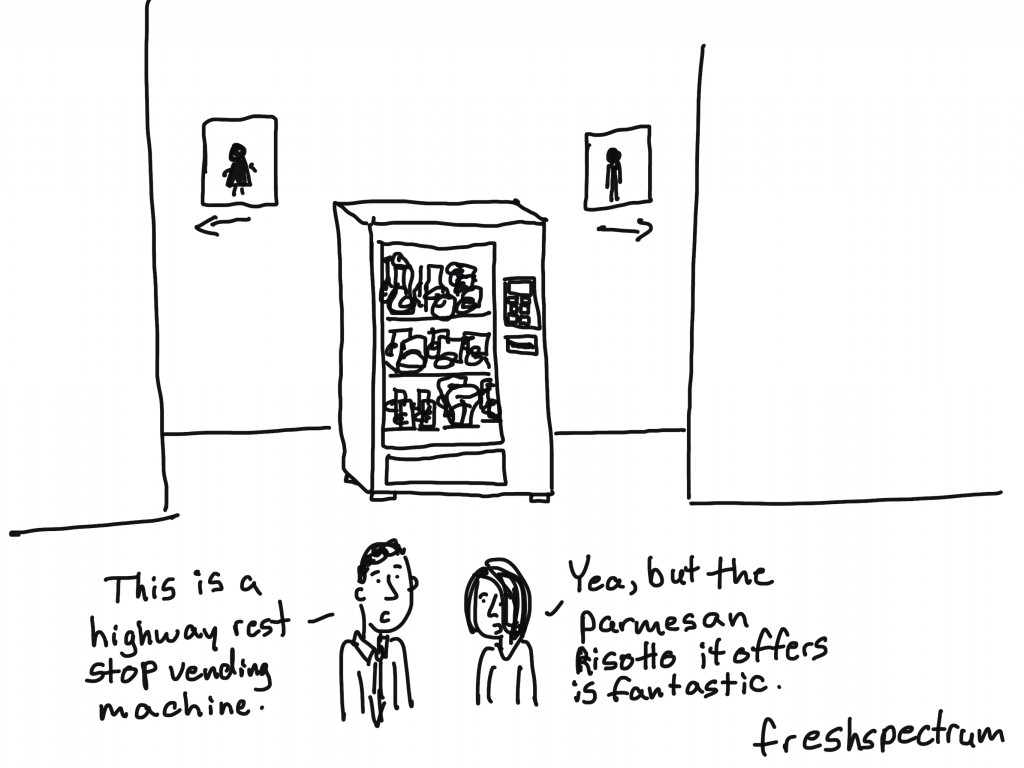 "freshspectrum cartoon by Chris Lysy. ""This is a highway rest stop vending machine."" ""Yea, but the parmesan risotto it offers is fantastic."""