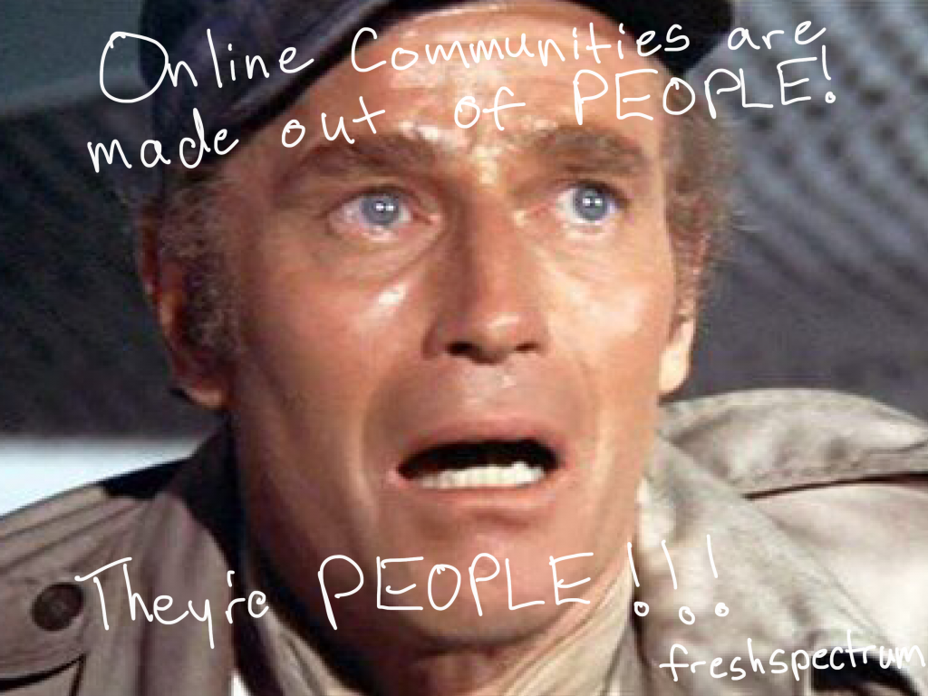 freshspectrum cartoon by Chris Lysy: Online communities are made out of people! They're people!