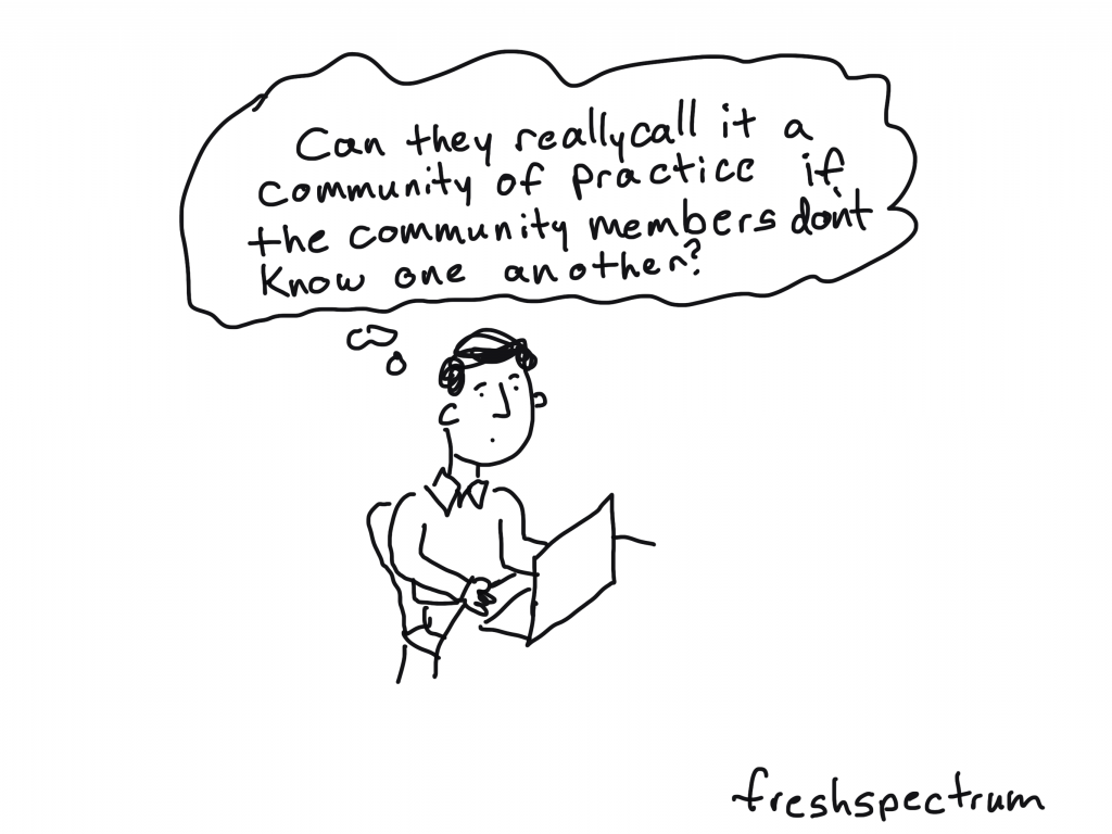 freshspectrum cartoon by Chris Lysy: Can they really call it a community of practice if the community members don't know one another?