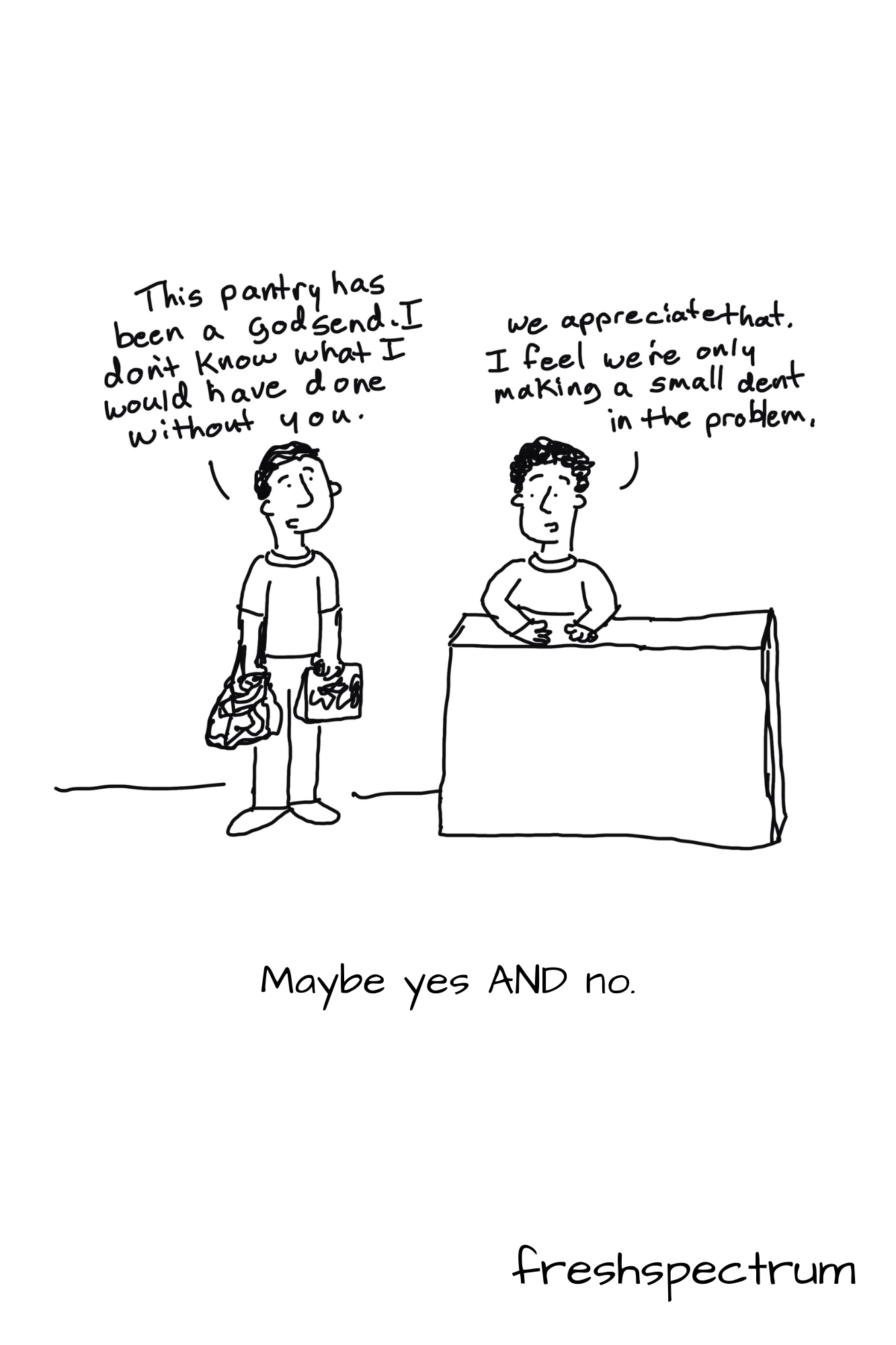 Shrodinger's Outcome Graphic Novella by Chris Lysy of freshspectrum.com.  Illustration 6.