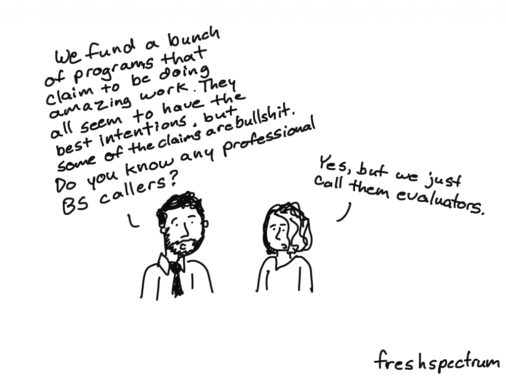 Freshspectrum cartoon by Chris Lysy. We fund a bunch of programs that claim to be doing amazing work. They all seem to have the best intentions, but some of the claims are bullshit. Do you know any professional BS callers? Yes, but we just call them evaluators.