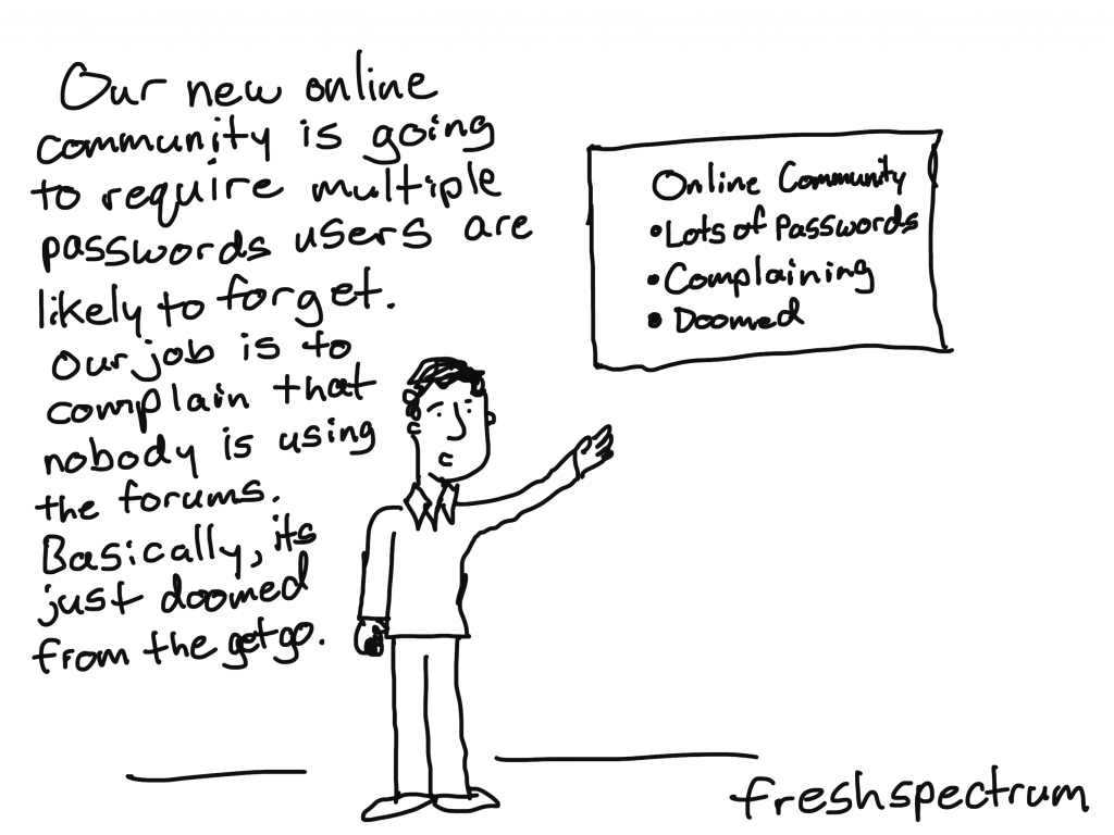 Freshspectrum Cartoon by Chris Lysy - Our new online community is going to require multiple passwords users are likely to forget. Our job is to complain that nobody is using the forums. Basically, it's just doomed from the get go.