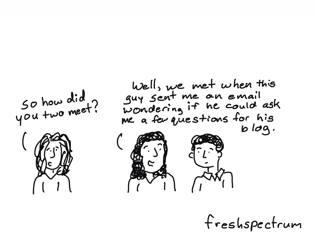 """freshspectrum cartoon by Chris Lysy """"So how did you two meet?"""" """"Well, we met when this guy sent me an email wondering if he could ask me a few questions for his blog."""""""