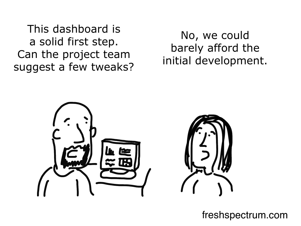 """Freshspectrum cartoon by Chris Lysy. """"This dashboard is a solid first step. Can the project team suggest a few tweaks?"""" """"No, we could barely afford the initial development."""""""