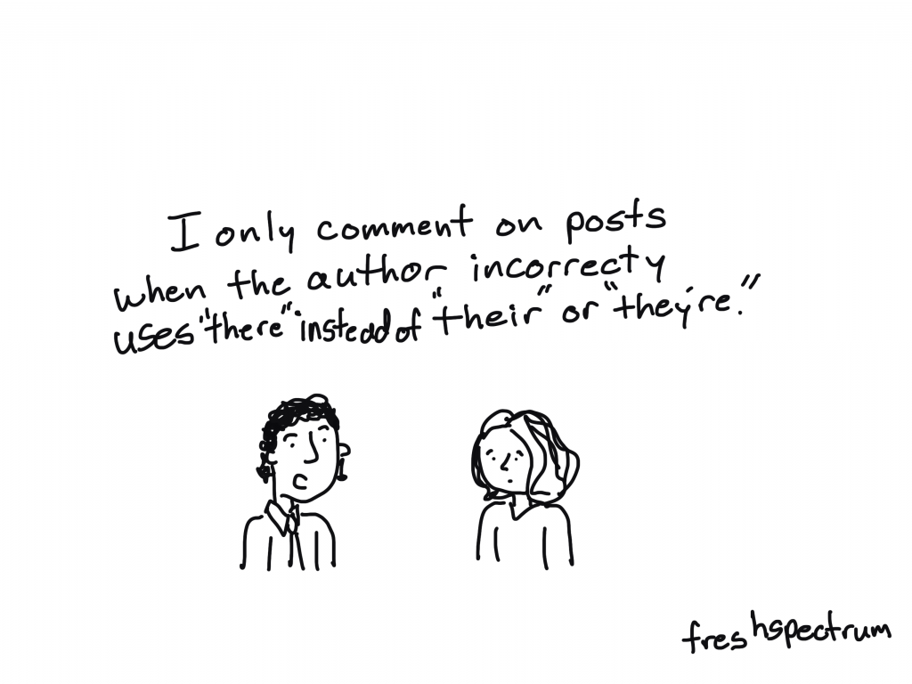"""Freshspectrum cartoon by Chris Lysy.  """"I only comment on posts when the author incorrectly uses """"there"""" instead of """"their"""" or """"they're."""""""
