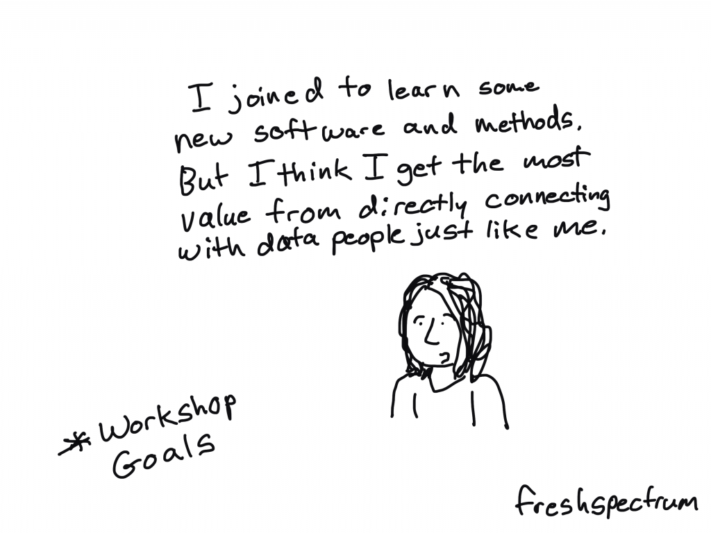 """DiY Data Design workshop goals. """"I joined to learn some new software and methods. But I think I get the most value from directly connecting with data people just like me."""""""