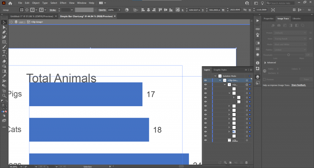 Screenshot of Adobe Illustrator with an SVG Excel chart.