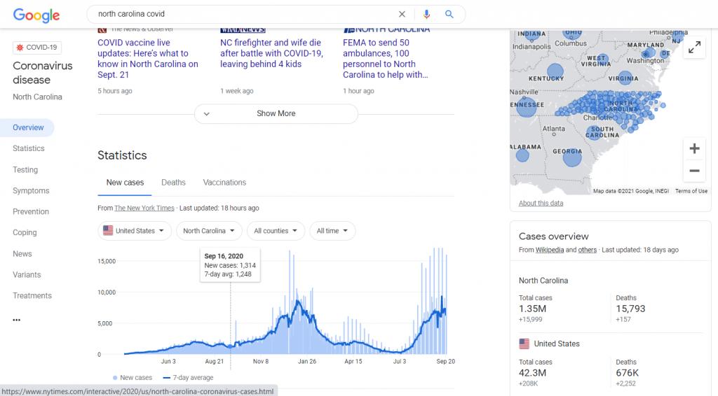 "Screenshot from Google search of ""North Carolina COVID"" on 9/21/2021."