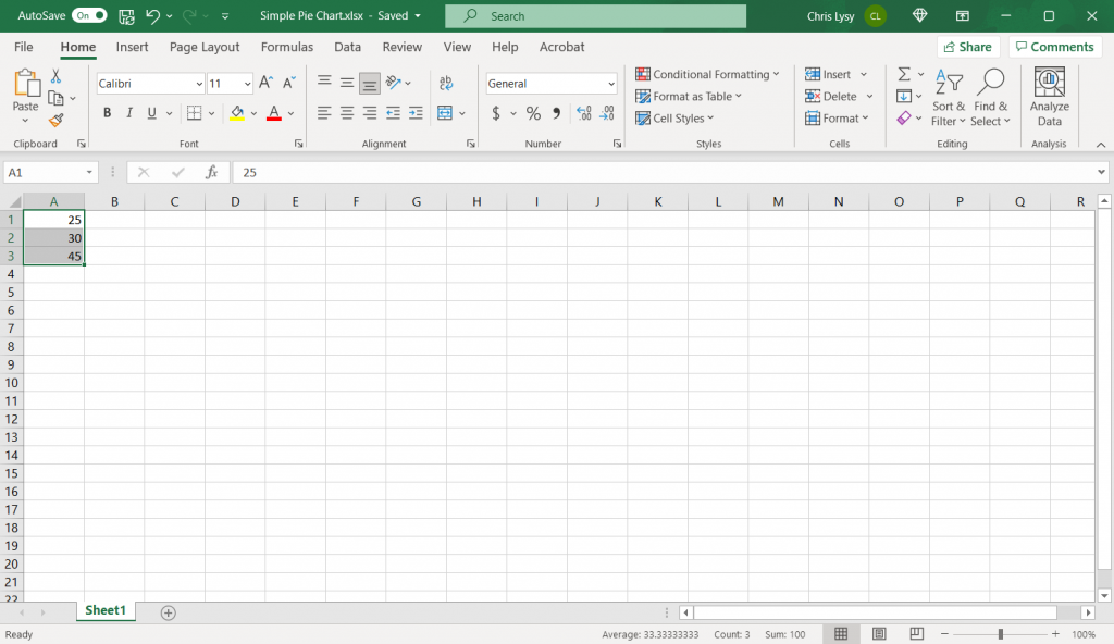 How to make a pie chart in Excel, step 1.