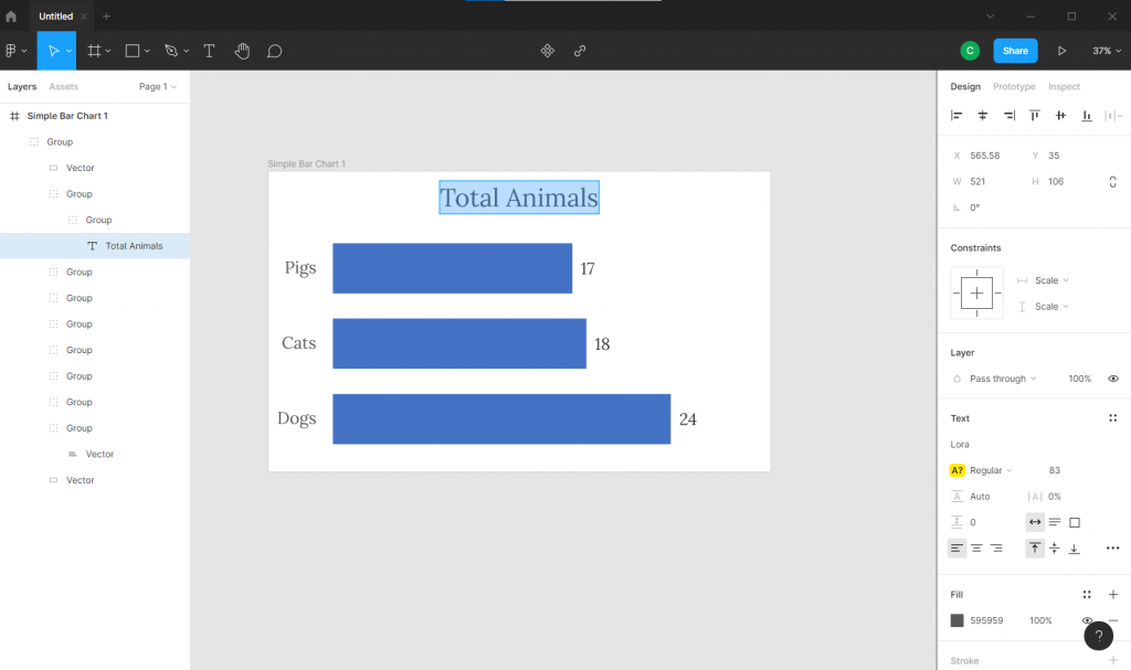 Screenshot of Figma with an SVG Excel chart.