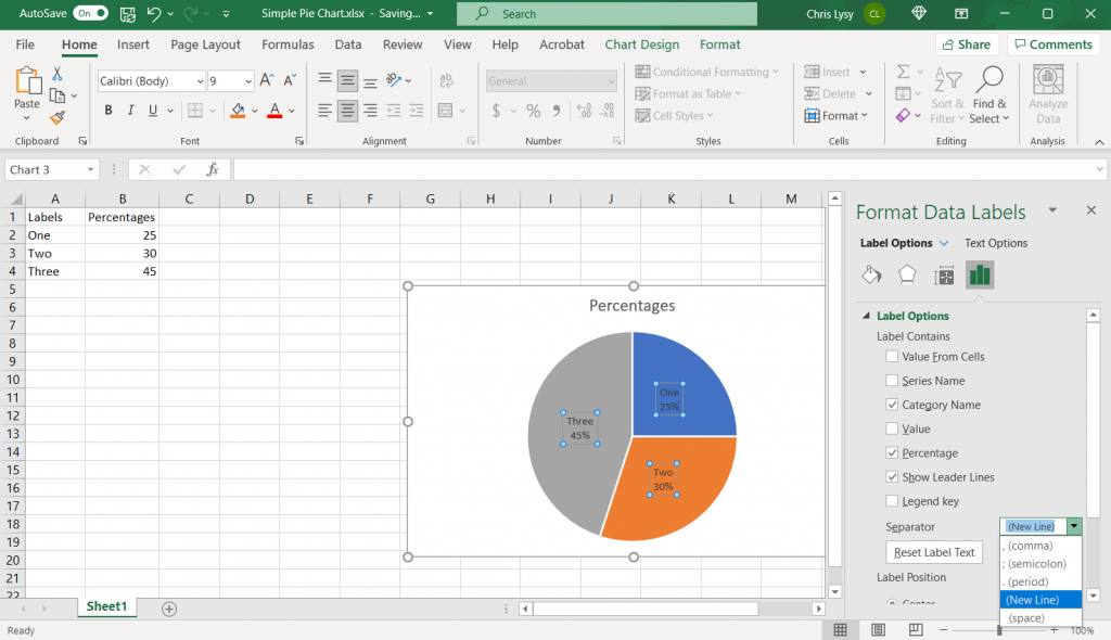 How to make a pie chart in Excel Example Screenshot, Adding the Category Name to the Data Label