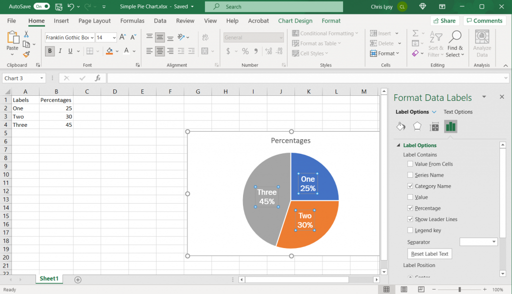 How to make a pie chart in Excel Example Screenshot, Format the Color and Font