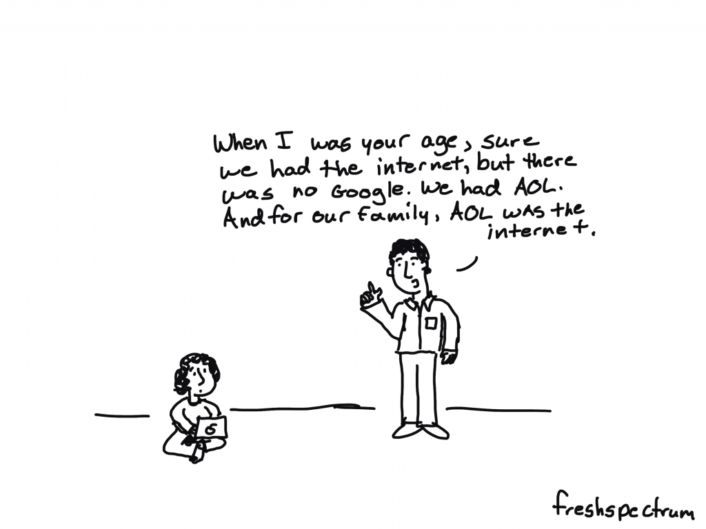 """Freshspectrum Cartoon by Chris Lysy.  """"When I was your age, sure we had the internet, but there was no Google. We had AOL. And for our family, AOL was the internet."""""""