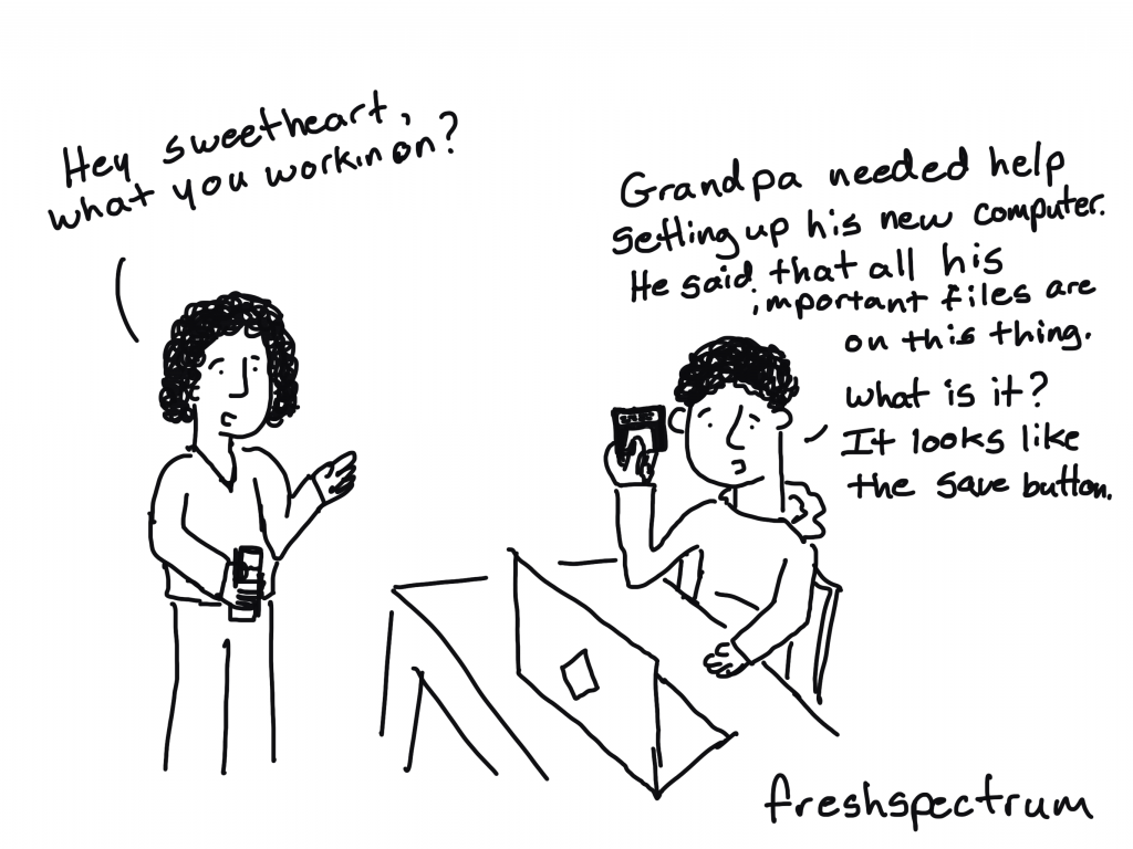 """Freshspectrum Cartoon by Chris Lysy.  """"Hey Sweetheart, what you workin on?"""" """"Grandpa needed help setting up his new computer. He said that all his important files are on this thing. What is it? It looks like the save button."""""""